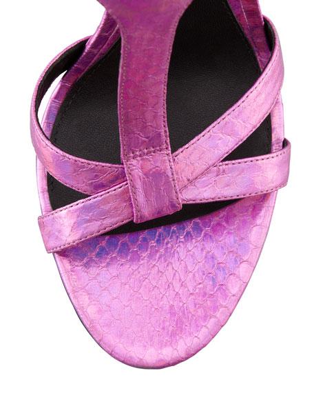 Laetitia Hologram Snakeskin Sandal, Pink