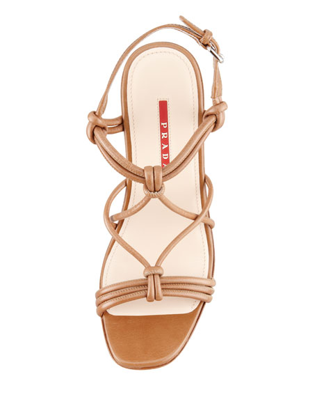 Knotted Leather Wicker-Wedge Sandal, Brown