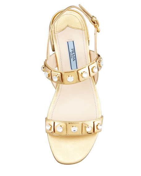Jeweled Double-Strapped Sandal, Platinum