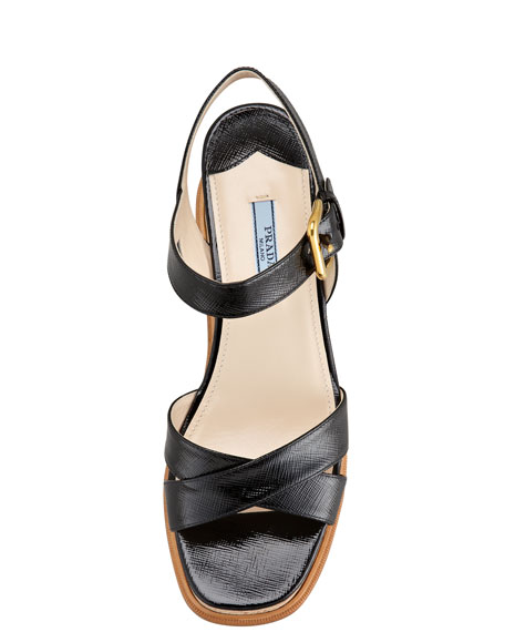 Patent Crisscross Cork Wedge Sandal, Black