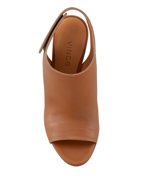 Astrid Leather Slingback Sandal, Luggage