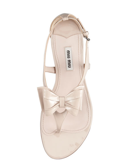 Patent Bow Thong Sandal, Cipria