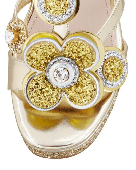 Metallic Glitter Flower Wedge, Gold