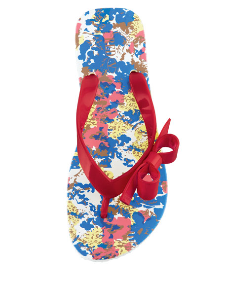 Printed Bow Flip Flop, Pink