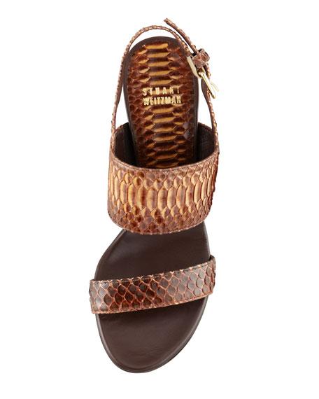 Snakeskin Slingback Sandal, Natural