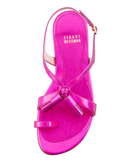 Flapper Hologram Specchio Flat Sandal, Shocking Pink