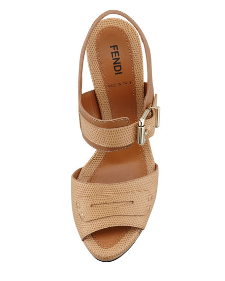 Penny-Strap Lizard-Embossed Leather Sandal, Beige