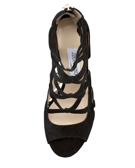 Verdict Suede Cutout Sandal, Black