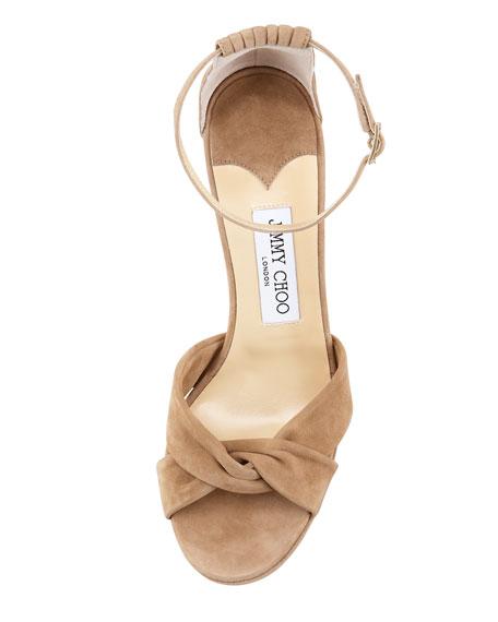 Marion Suede Platform Sandal, Nude
