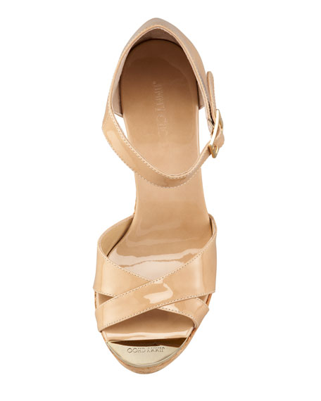 Pape Patent Wedge Sandal, Nude