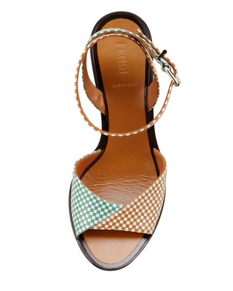 Joker Check Leather Ankle-Wrap Sandal, Green/Tan