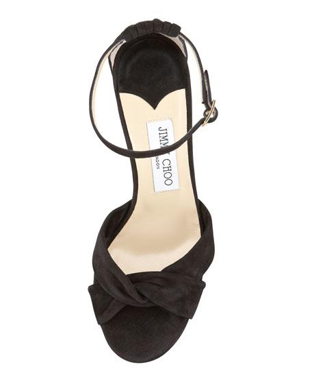 Marion Suede Platform Sandal, Black