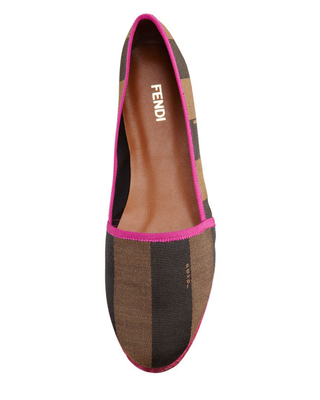 Pequin Striped Canvas Espadrille Flat, Pink