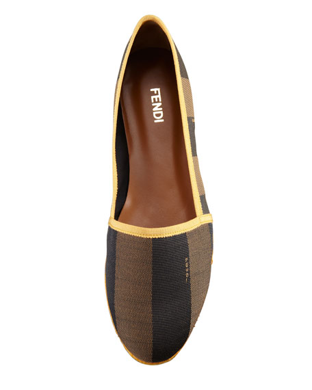 Pequin Striped Canvas Espadrille Flat, Yellow