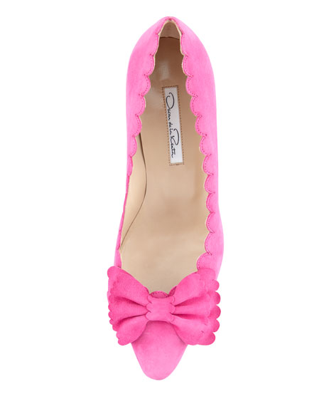 Scalloped Suede Bow Pump