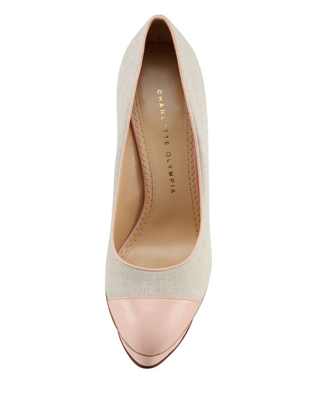 Monacoco Linen Cap-Toe Pump, Natural/Rose