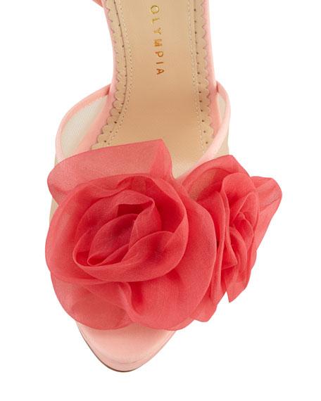 Fleur Ankle-Wrap Platform Sandal, Pink