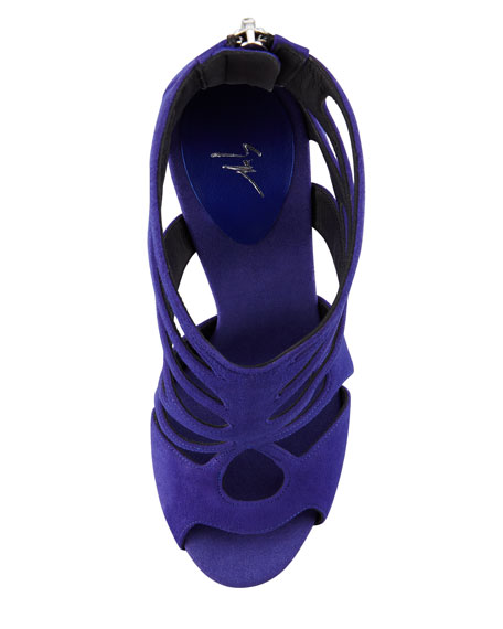 Butterfly Cutout Suede Sandal, Purple