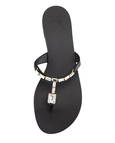 Jewel Thong Slide Sandal, Black