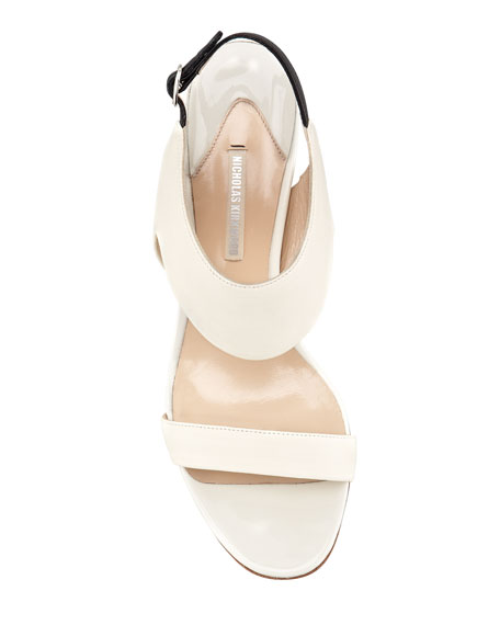 Metallic-Heel Leather Sandal, White