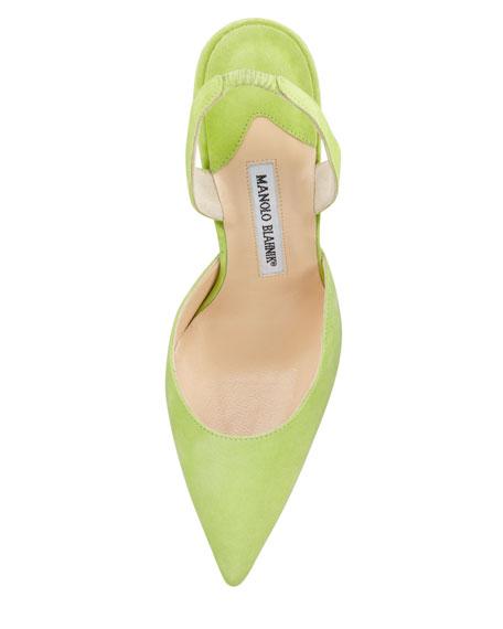 Carolyne Suede High-Heel Halter, Green