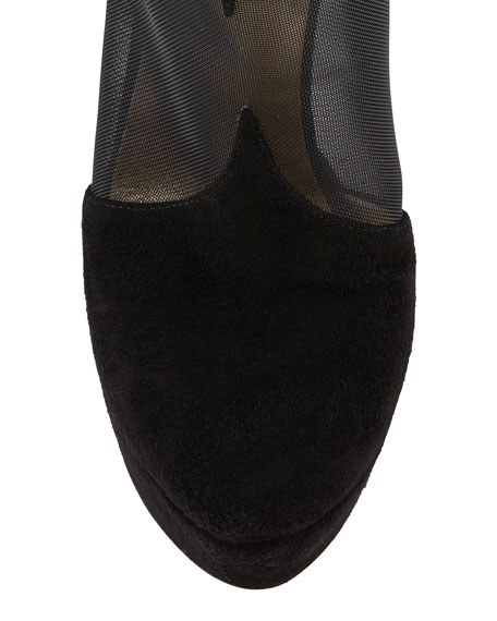 Mesh & Suede Bowed-Heel Bootie, Black