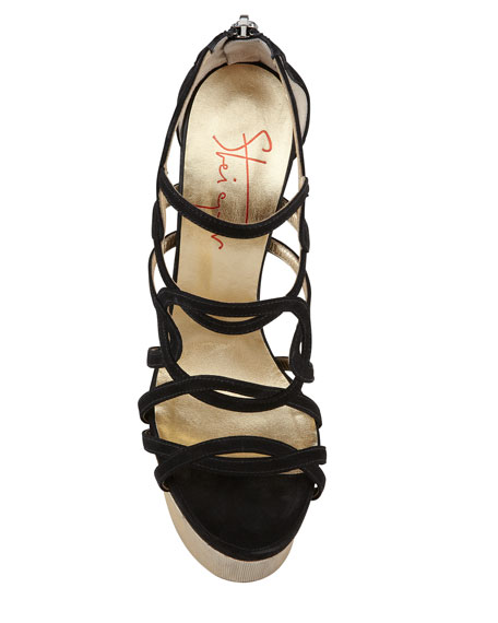 Metallic-Heel Suede Sandal, Black
