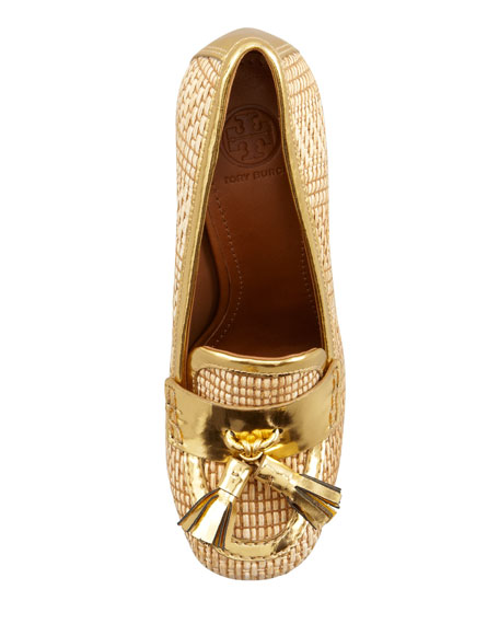 Careen Runway Loafer Pump, Natural/Gold