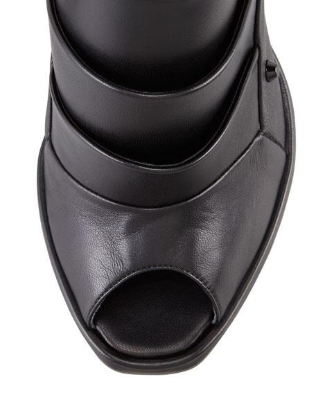Layered Pyramid Stud-Heel Pump, Black