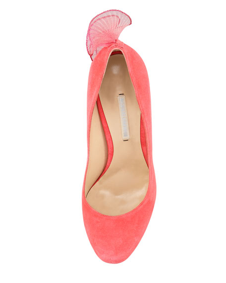 Ruffle-Back Suede Platform Pump, Strawberry