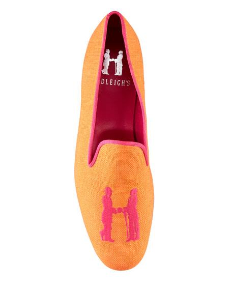 Audrey Linen Smoking Loafer, Orange/Pink
