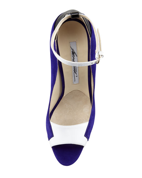 Evie Contoured Suede Ankle-Wrap Pump, Purple/Black/White