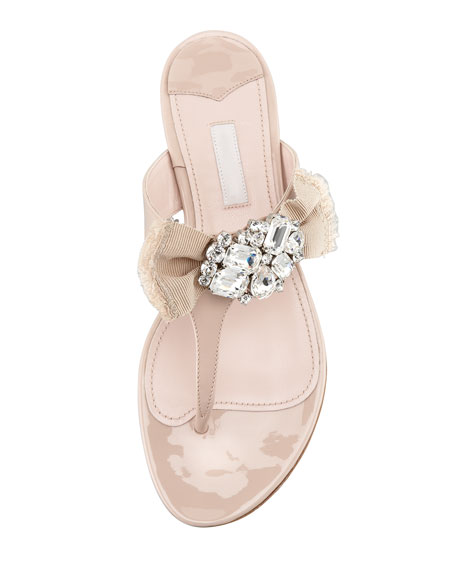 Patent Ornament Bow Flat Thong Sandal