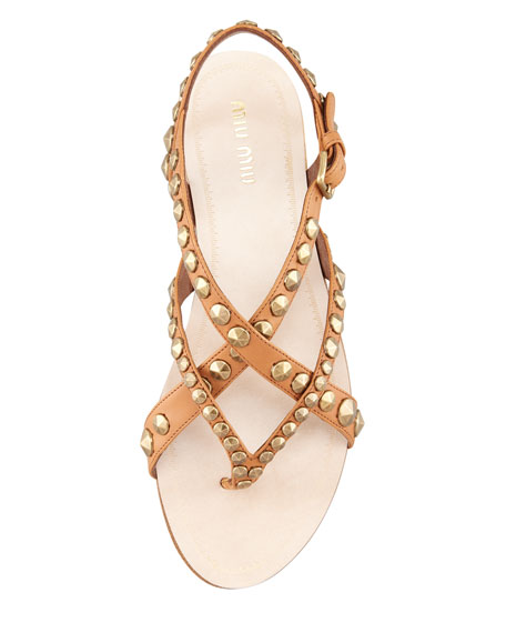 Studded Strappy Thong Sandal, Cuoio