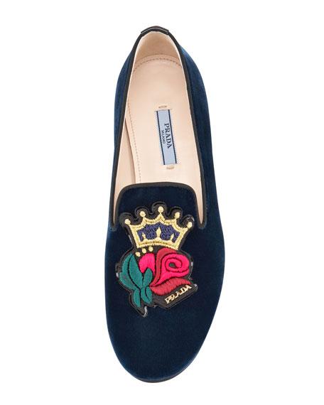 Velvet Rose-Embroidered Smoking Slipper