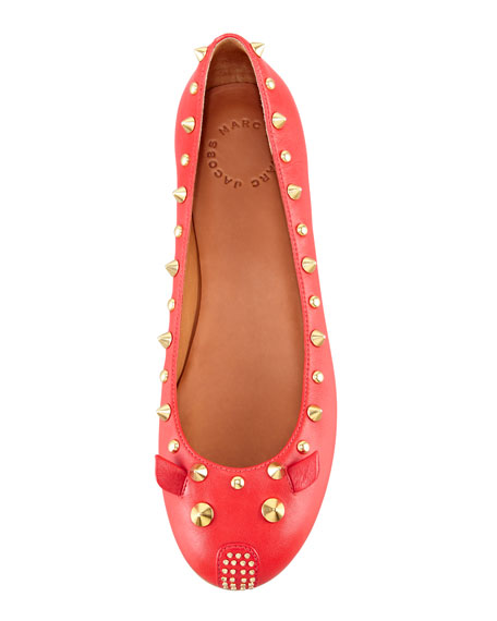Studded Mouse Ballerina Flat, Red