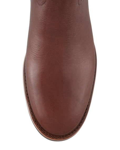 Kiernan Leather Logo Riding Boot, Almond