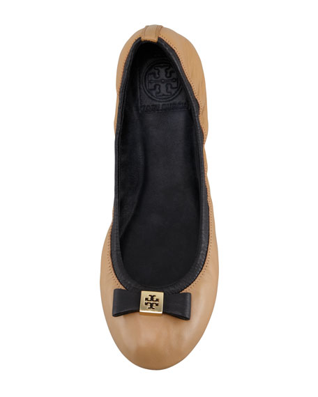 Eddie Logo Bow Two-Tone Ballerina Flat, Clay Beige/Black
