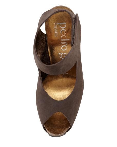 Clarette Suede Peep-Toe Platform Sandal, Smog