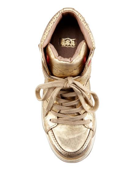 Freak Metallic Studded Sneaker, Gold