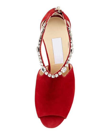 Farah Crystal-Trim Suede Sandal, Red