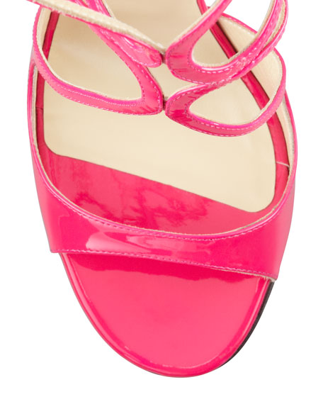Lang Patent Strappy Sandal, Fuchsia