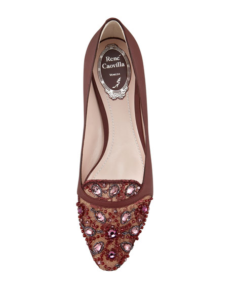Leather and Lace Embellished Slipper, Burgundy
