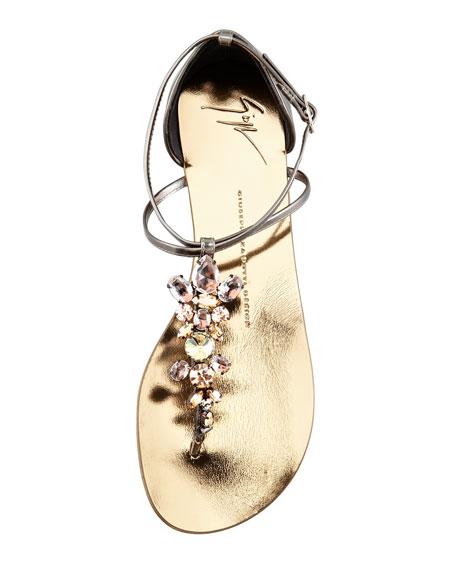 Jeweled Thong Sandal, Pewter