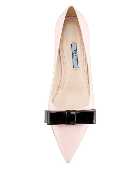 Bicolor Pointed-Toe Bow Flat, Pink/Black