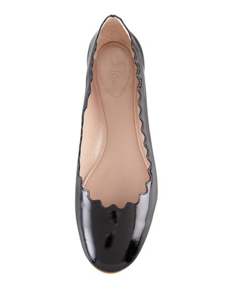 Scalloped Patent Leather Ballerina Flat, Black