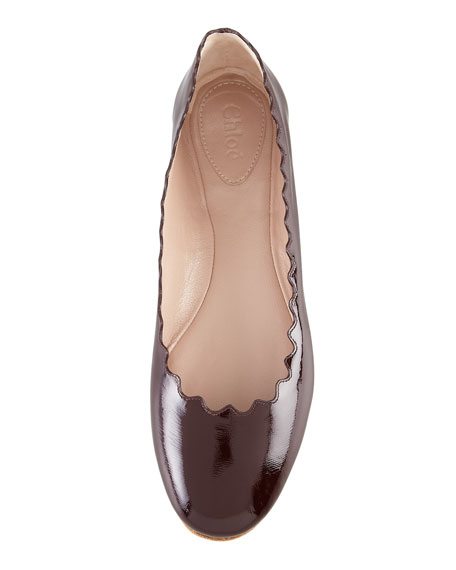 Scalloped Patent Leather Ballerina Flat, Red Grape