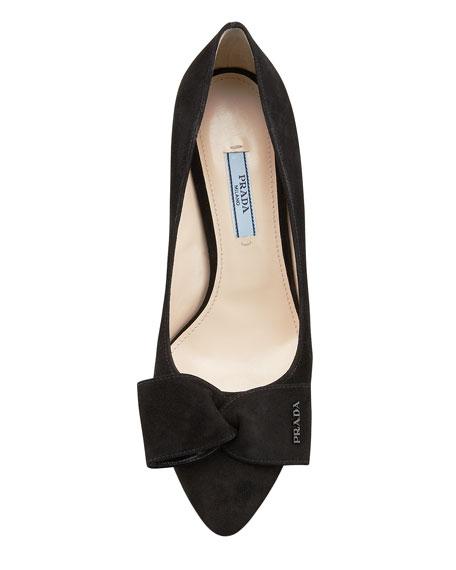 Suede Block-Heel Bow Pump, Black