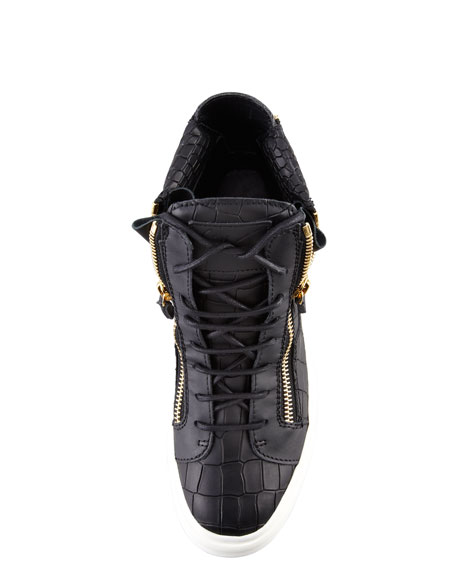 Croc-Embossed Low Top Sneaker, Black