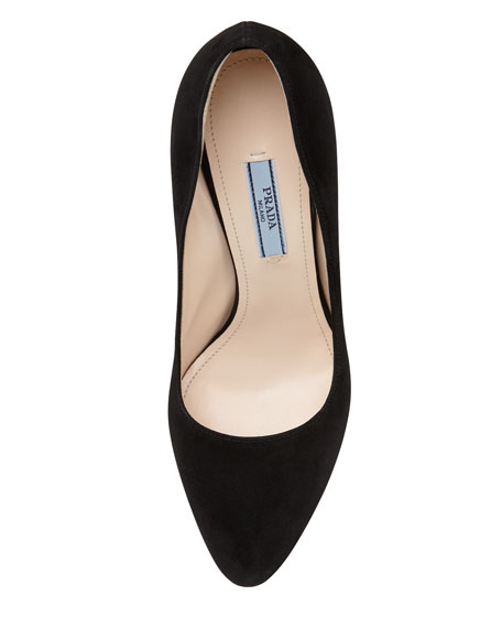 Suede Metallic Heel Pump, Black
